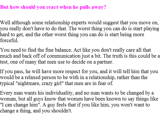 why a man pulls away