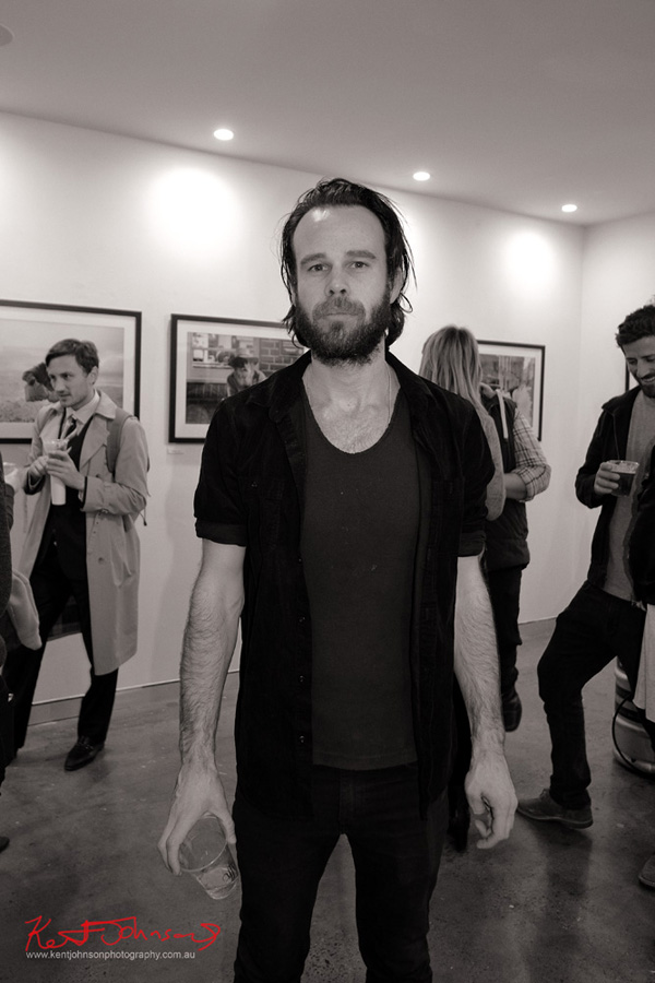 Portrait of Pete Hawke at the opening of his exhibition Intermission at M2 gallery. Street Fashion Sydney photographed by Kent Johnson.