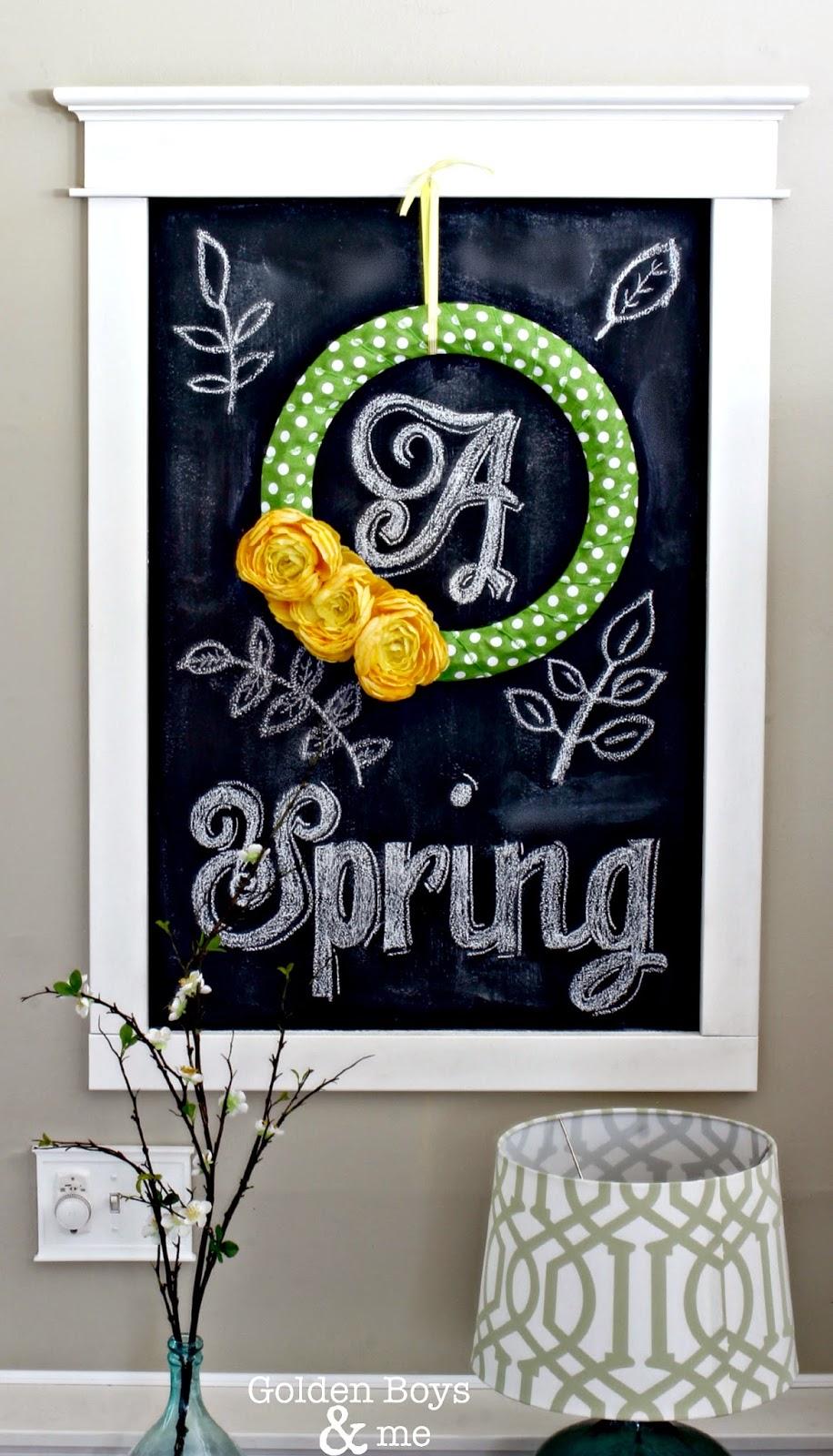Spring chalkboard art-www.goldenboysandme.com