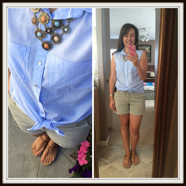 Summer Outfits for Moms Chambray Tank