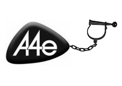 A4e logo attached to leg iron