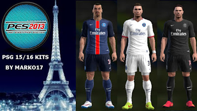 PES 2013 Paris Saint-Germain FC 15-16 kits by marko17