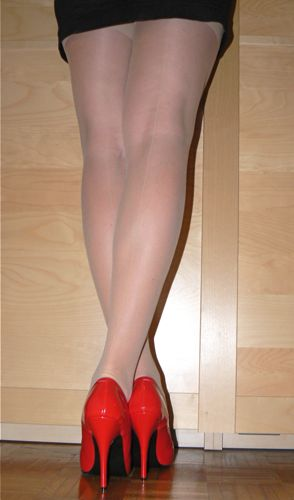 Red High Heel Pumps and seamed Stockings