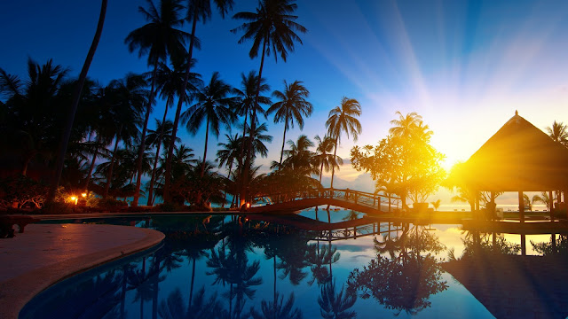 Thailand Paradise Scenery Seawater Sunrise Bridge House HD Wallpaper