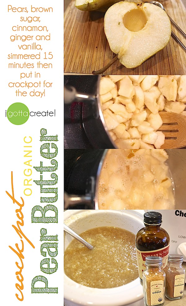 Small batch #crockpot pear butter -- yum!  | Recipe at I Gotta Create!