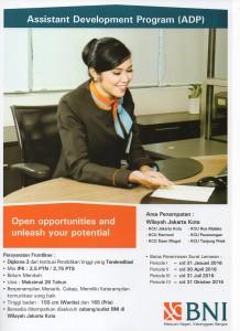 Informasi Lowongan Kerja Terbaru PT Bank Negara Indonesia Tbk Assistant Development Program ( ADP )