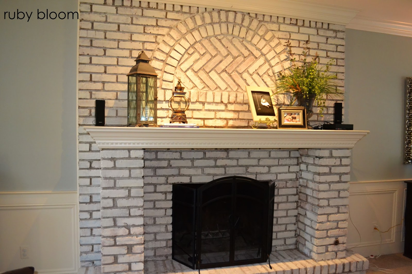 Ruby bloom painted brick fireplace for Bricks painting design