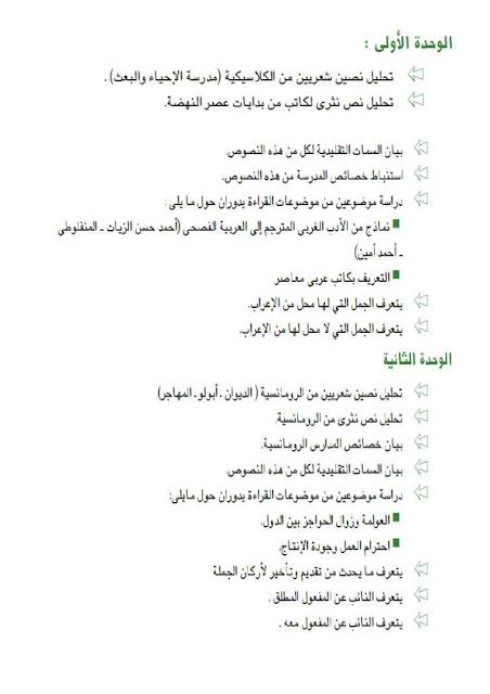 حصريا فهرس كتاب اللغة العربية الجديد 2016 للثانوية العامة  1