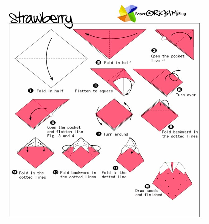 fruits and vegetable origami strawberry paper origami guide