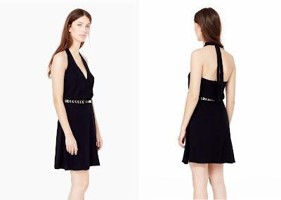 vestido escote pico negro
