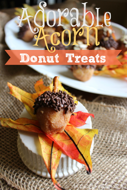 These Adorable Acorn Donut Treats start with store-bought donut holes! A fun dessert or addition to your brunch table for the fall season!