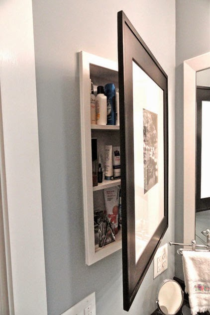 Here Is An Unusual Approach By Hiding This Medicine Cabinet Behind Framed  Artwork. This Customer Purchased A Medicine Cabinet With A Mirrored Door ...