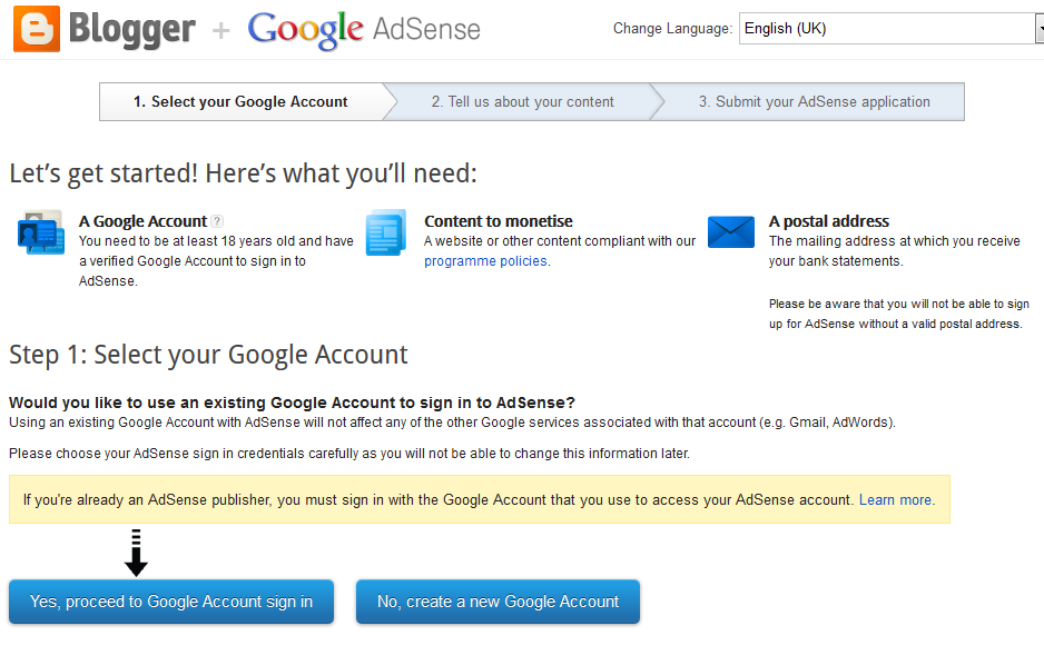 proceed to Google account