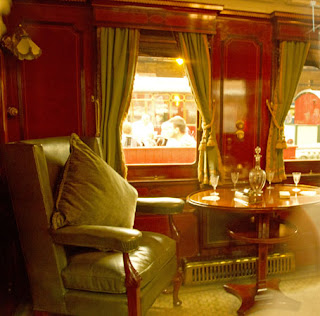 The inside of one of the carriages on Edward VII's Royal Train.