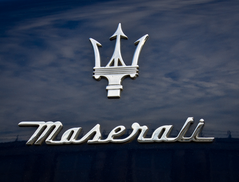 Maserati Logo on sports car badges