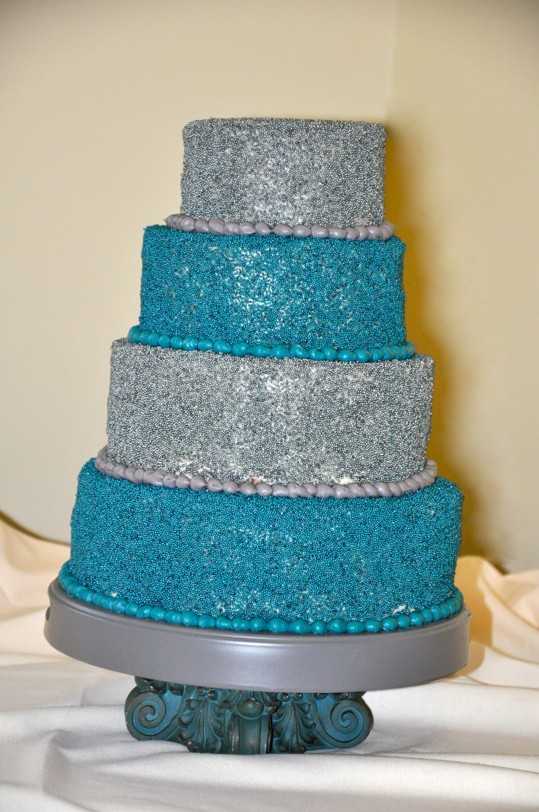 I Think I Could Do That Teal And Grey Wedding Cake