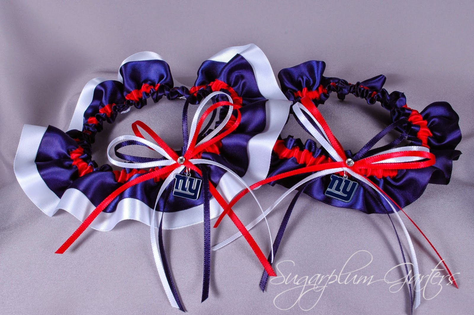 New York Giants Wedding Garter Set by Sugarplum Garters
