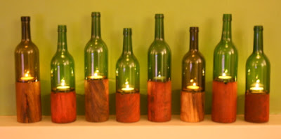 Good Glass recycled glass candle holders with wooden base