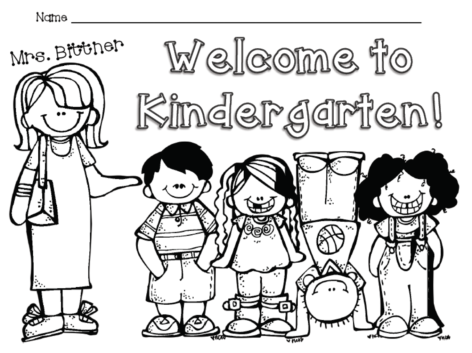 welcome to kindergarten free color sheet
