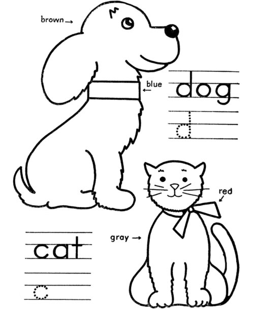 Dog And Cat Coloring Pages For Kids Gtgt Disney Coloring Pages