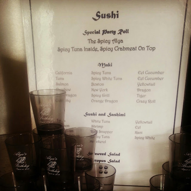 Personalized Sushi Menu and shot glasses
