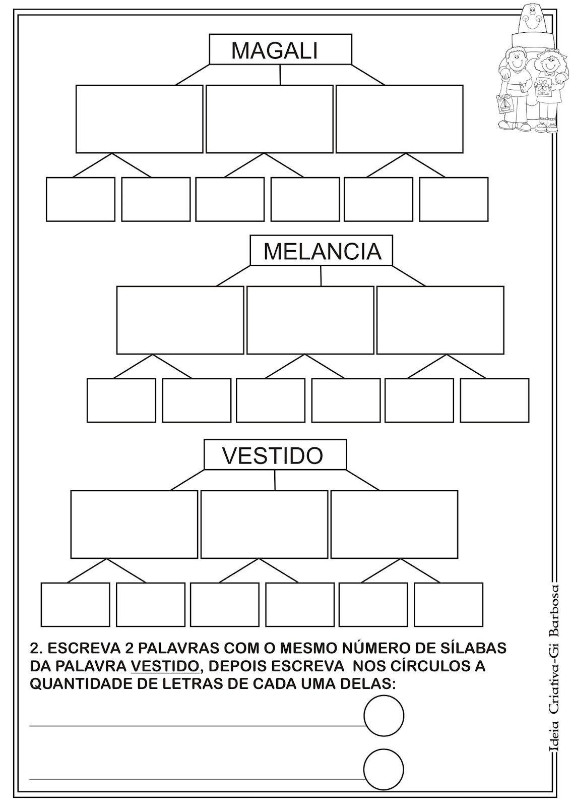 Atividade Separação  de Sílabas e Letras Turma da Mônica