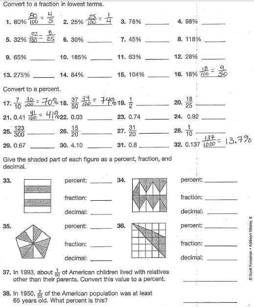 Fractions Decimals And Percents Worksheets 6Th Grade Free – Fractions Decimals and Percents Worksheets