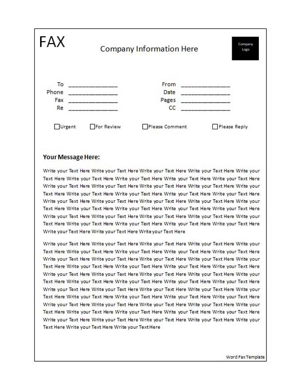 Fax Word Template ~ Microsoft Office Templates