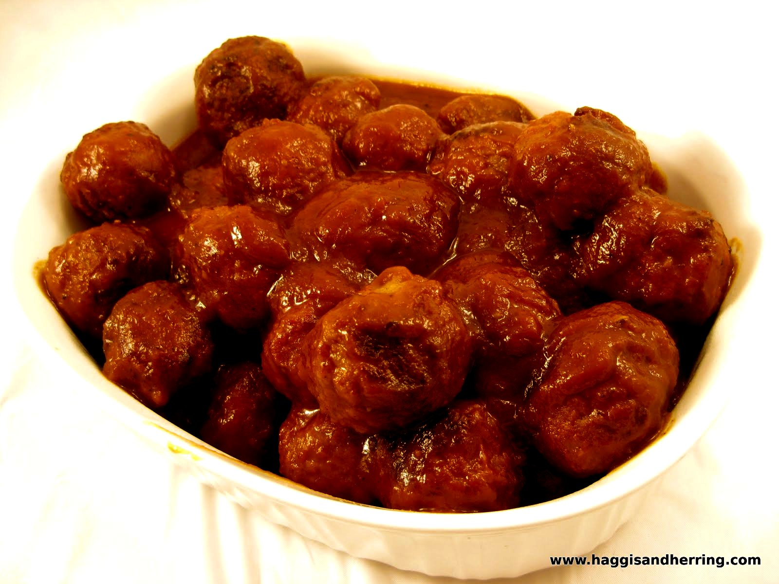 ... by the Haggis and the Herring: Meatballs in Amaretto Barbecue Sauce