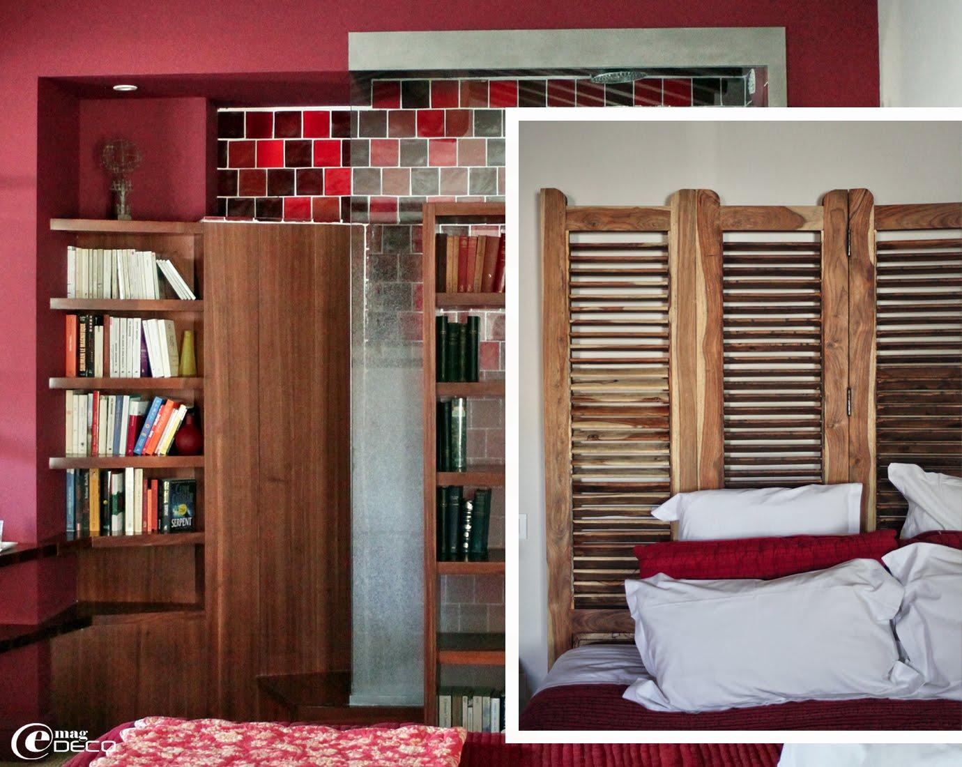 Détail de la douche et de la tête de lit paravent d'une chambre de la maison d'hôtes La Maison sur la Sorgue dans le Vaucluse