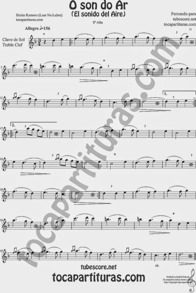 Versión en clave de sol en octava alta para flauta travesera, violín, trompeta, clarinete, oboe, saxofon tenor...