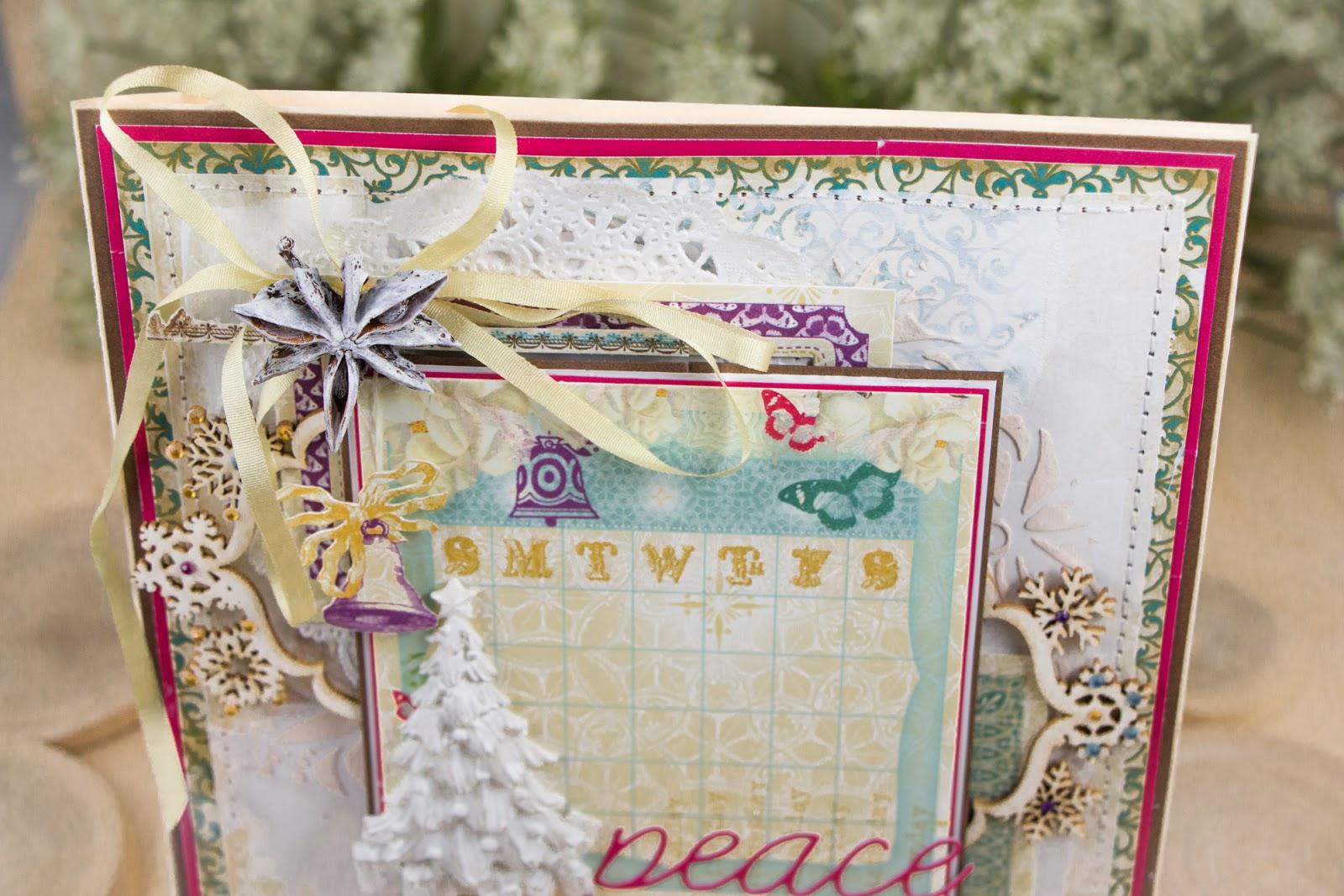 Скрапбукинг открытка Рождественский мир и покой. Мила Валентова.
