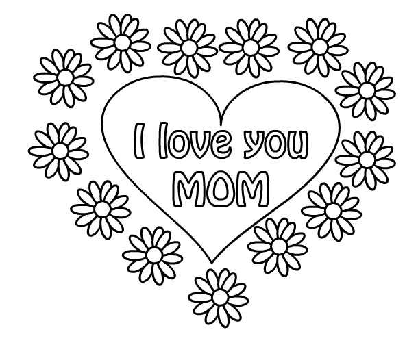 Mother s drawings coloring child coloring for I love u mom coloring pages