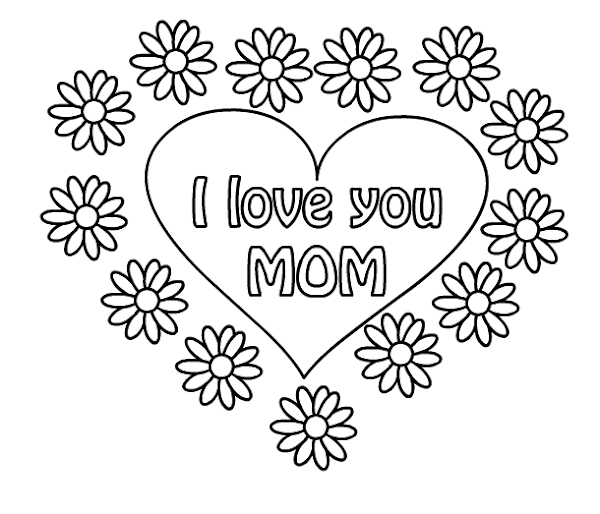 I Love You Mother's Day Coloring Page