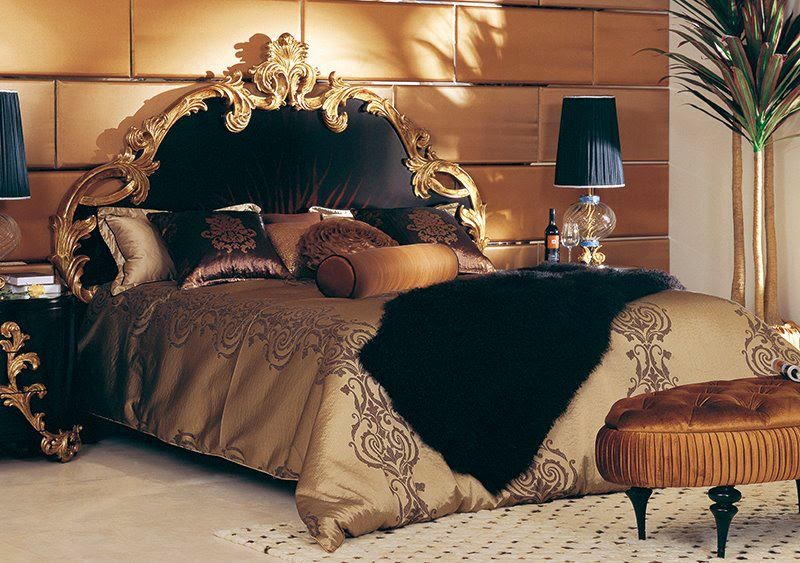 Elegant royal bed with comfort bedding and linen