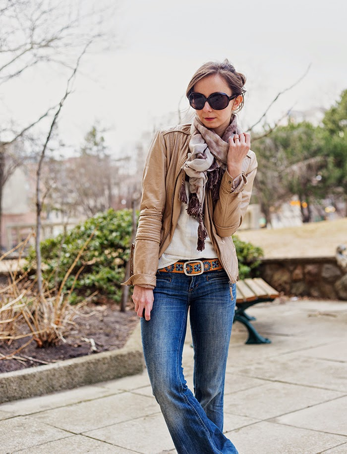 Boho-Tassle-Scarf-flared-jeans-pleather-jacket