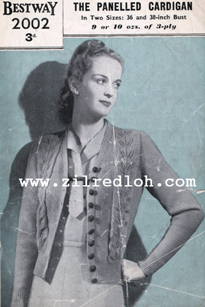 1940's Knitting - The Panelled Cardigan free pattern