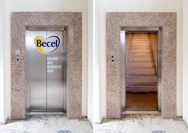 Publicidad Creativa, ascensores, Becel