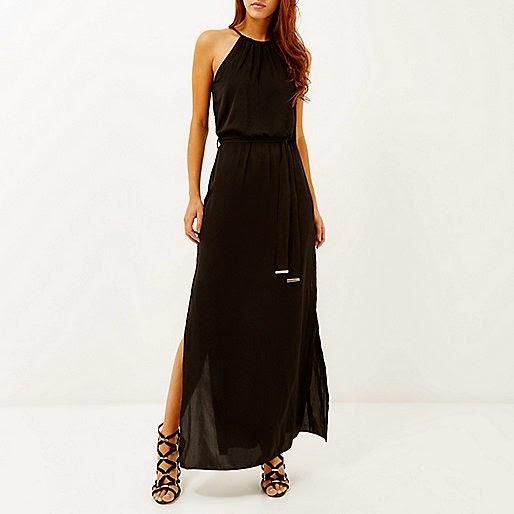 river island black maxi dress, black maxi dress with belt,