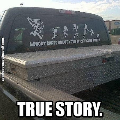 Nobody Cares About Your Stick Figure Family Funny Car Truck Window Sticker True Story