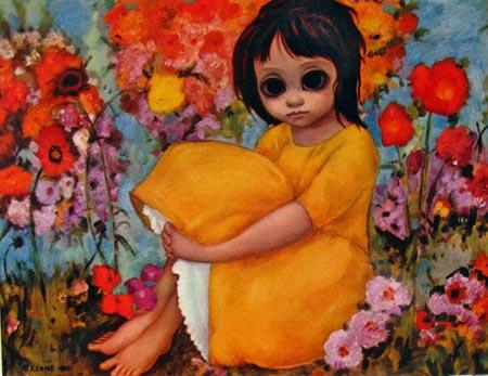 margaret keane big eyed art postcard garden