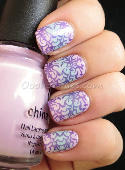 Essence Enter Wonderland with China Glaze Something Sweet, Kinetic Candy and Sweet Hook, stamped with China Glaze LOL And DRK Nails Designer 3