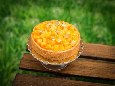 Mango tart miniature food for dollhouse 12th scale