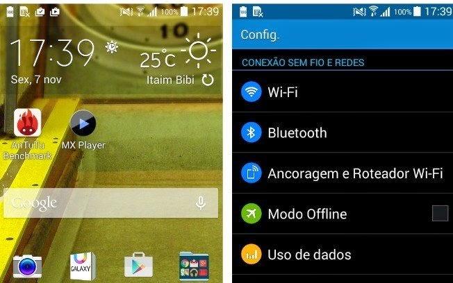 Sistema e aplicativos do smartphone Samsung Gran Prime
