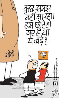 bjp cartoon, narendra modi cartoon, indian political cartoon, lal krishna advani cartoon
