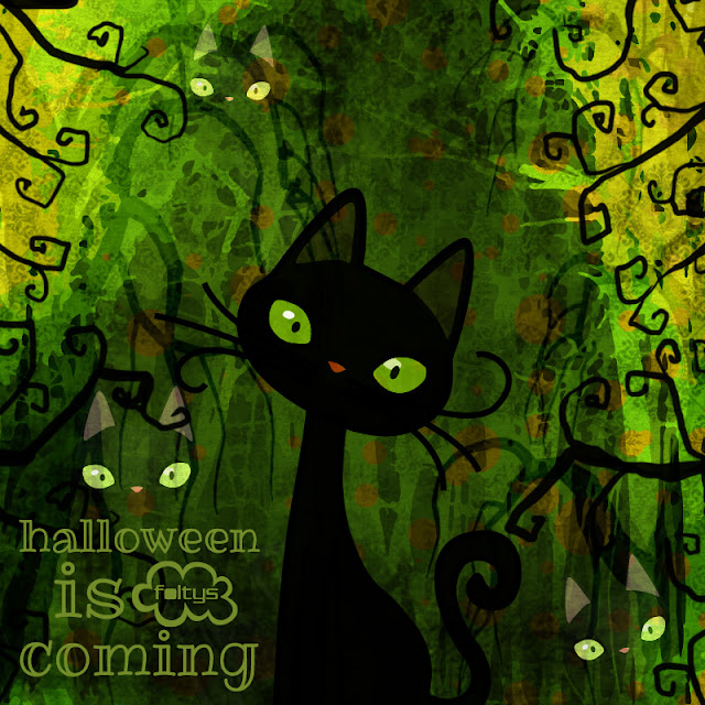 foltys vs halloween is coming: black wicked cat, 100% handmade with love