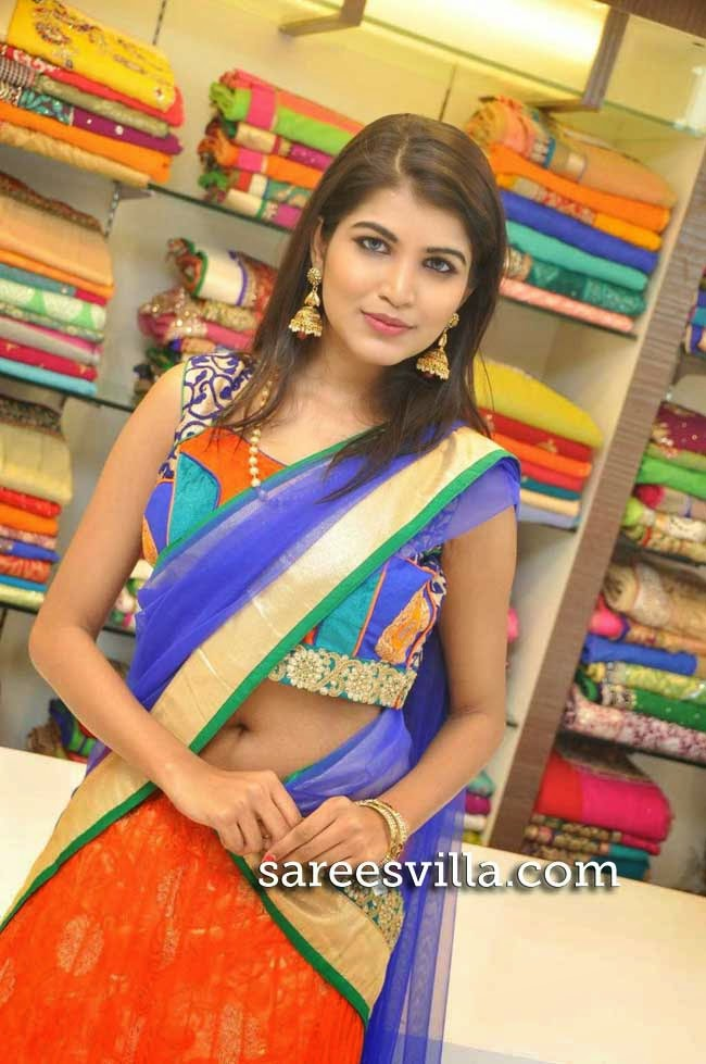 Model Isha in Sleeveless Blouse