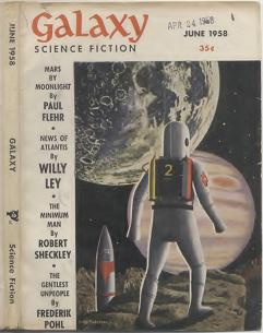 Cover image of Galaxy Science Fiction magazine, June 1958 issue, by Pederson. Showing spaceman on a small planetoid passing through Jupiters moon belt, moving away from Sun. Io, traveling to the right, will partially eclipse Jupiter.