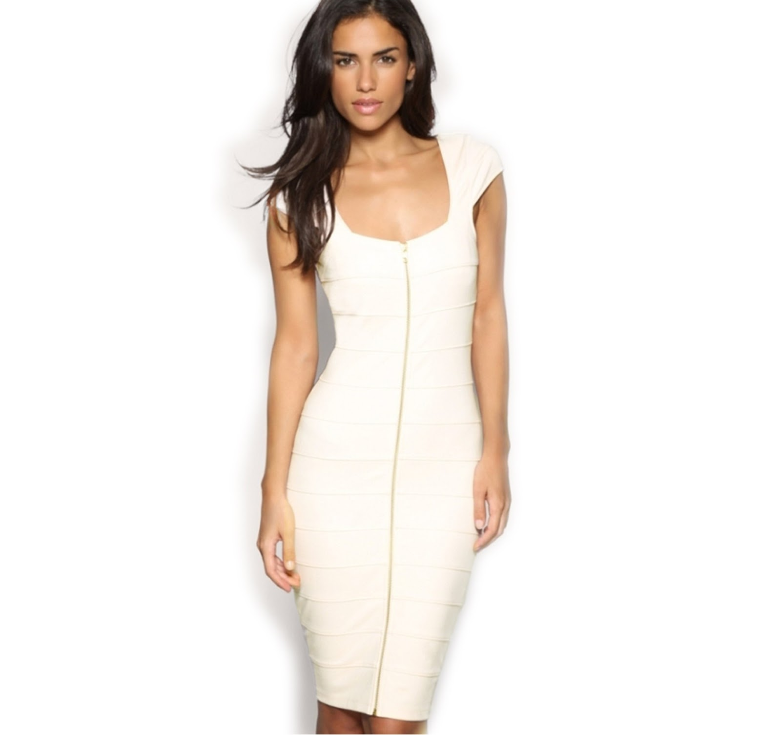 Miusol Women s Cream Zips Slim Ladies Cap Sleeve Stretch Cocktail Party  Dress ~ CoolProducts4You b8a37edd1