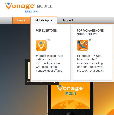 Vonage Mobile Calling app for iPhone, Android